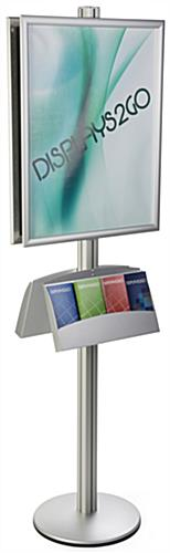 22x28 Double Poster Holder with Literature Stand, Height Adjustable