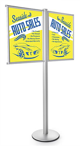 (2) 22 x 28 Dual Poster Fixed Post Display Stand