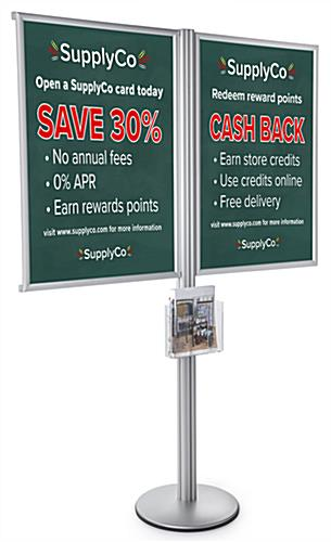 Multi Poster Floor Stand Literature Display with 8.5 x 11 Pocket