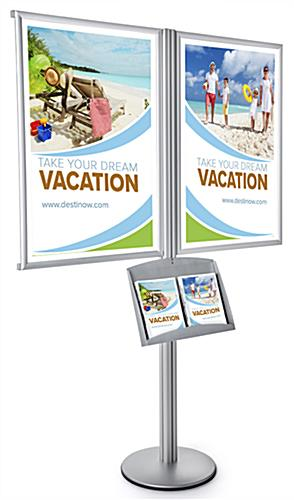 Poster Frame Literature Floor Post Display for (2) 24 x 36 Graphics
