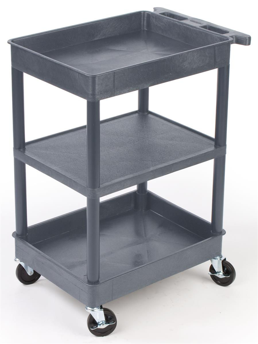 Industrial Cart Gray Plastic W 3 Shelves