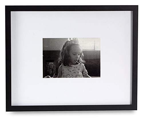 Black Photo Frame W Large Mat Fits 5 X 7 Or 11 X 14