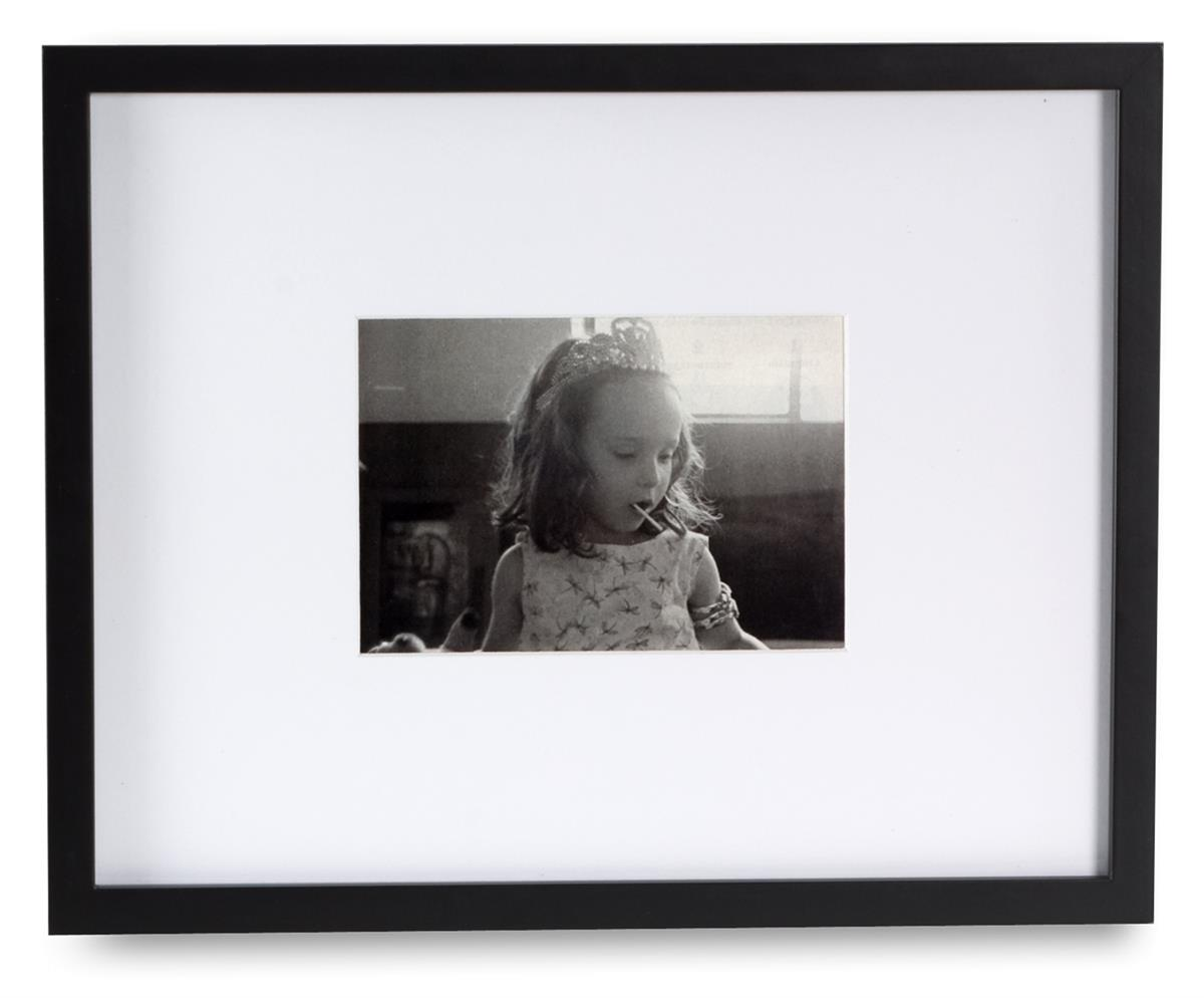 Black Photo Frame W Large Mat Fits 5 X 7 Or 11 X 14