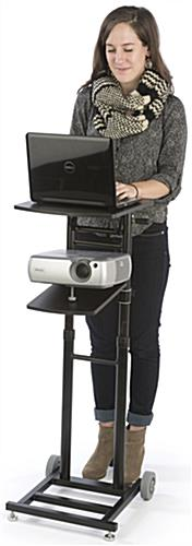 Adjustable Projector Stand has 2 Shelves that Swing, Change Height