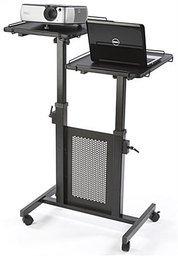 Mobile Laptop Cart w/ 2 Platforms on Adjustable Steel Poles