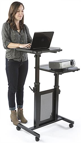Mobile Laptop Cart with Black Powder Coated Steel Base