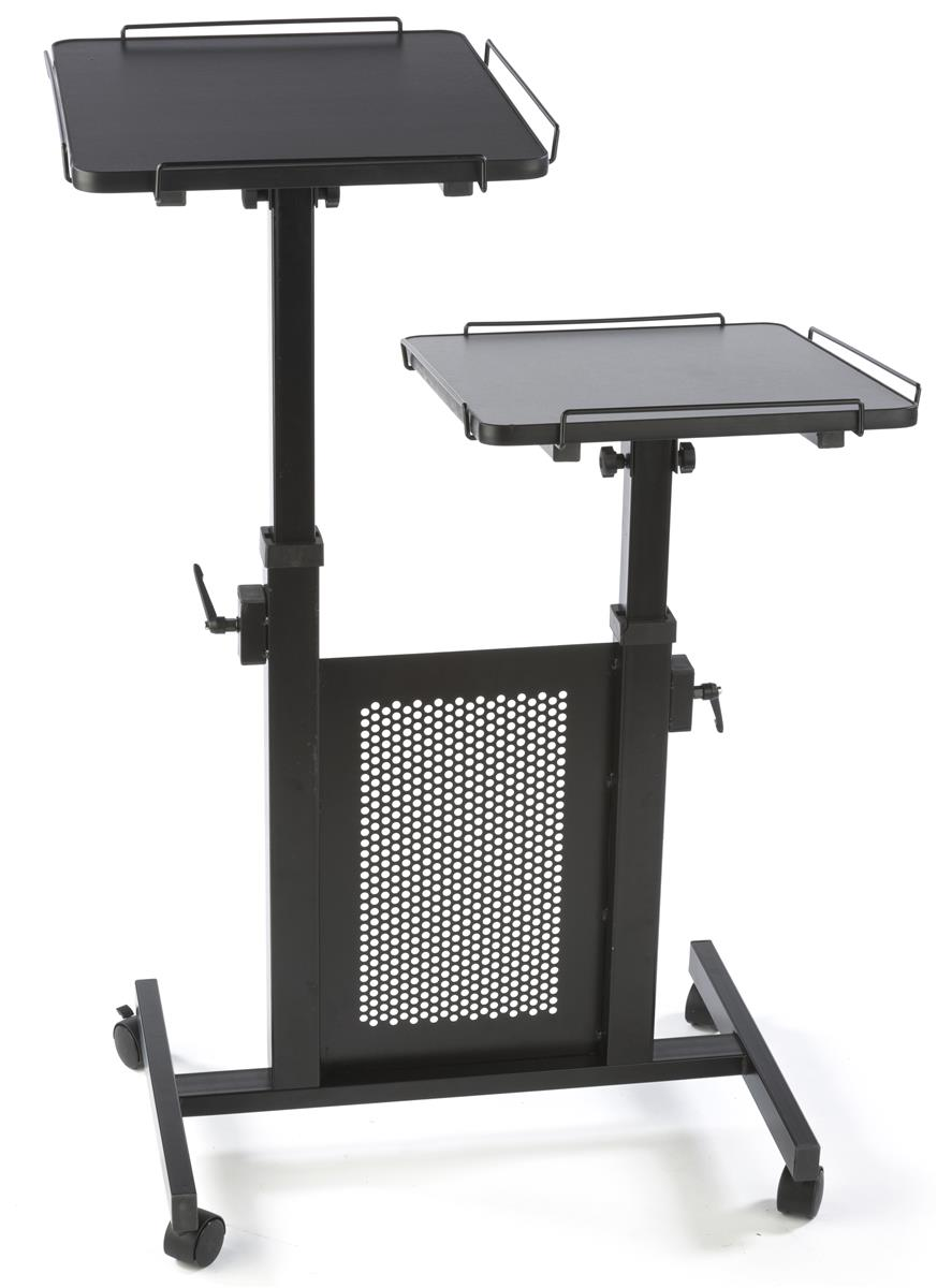 Mobile Laptop Cart Has Shelves That Tilt Up To 25°