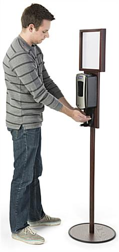 Mahogany Floor Standing Purell Dispenser is Touch-Free
