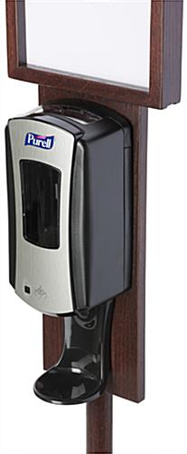 Mahogany Floor Standing Purell Dispenser with Top Loading Frame