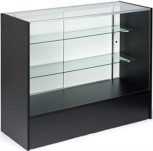 Display Case: 4' Long, Economical Black Melamine Construction