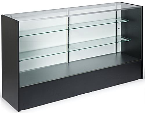 Showcases: 6' Black Melamine & Tempered Glass Retail Counter