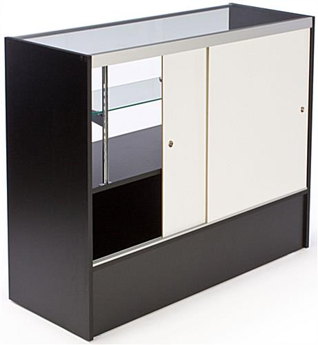 Black Melamine Showcase Includes Base Cabinet For Additional Storage