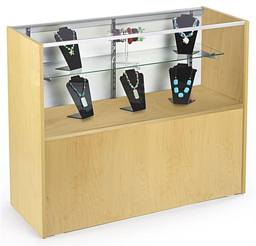 Maple Melamine Store Display Case With Hidden Storage Area