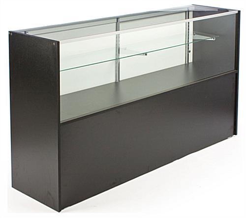black melamine showcases with storage cabinet