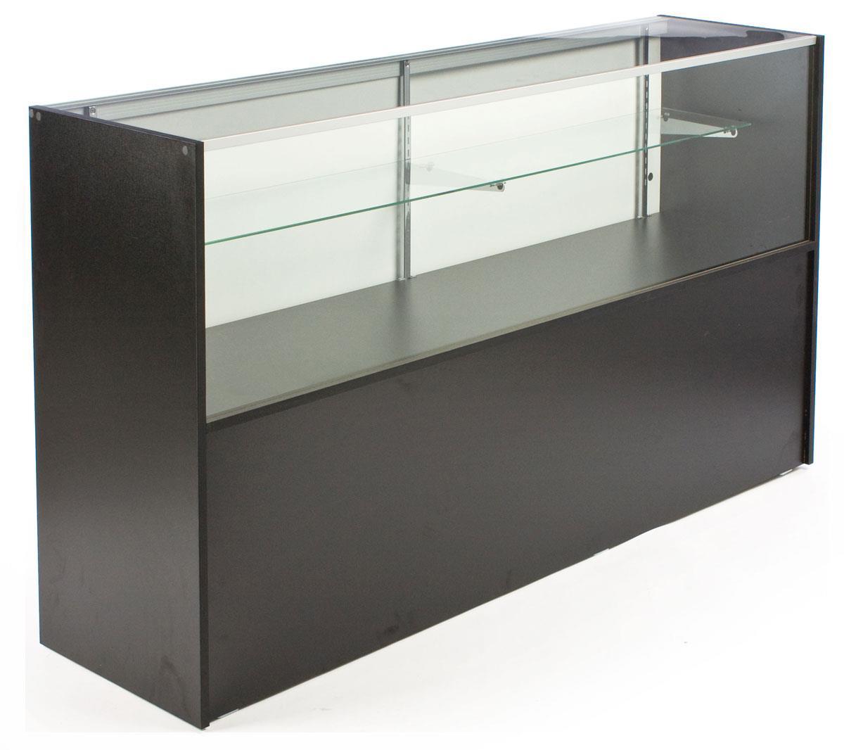 Black melamine showcases storage cabinet w half vision - Revamper armoire melamine ...