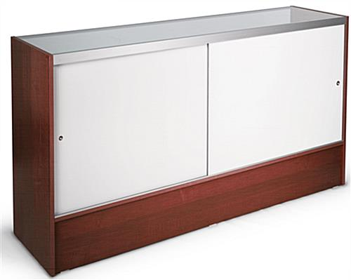 Cherry Melamine Glass Display Cases Have A Full-Length Shelf