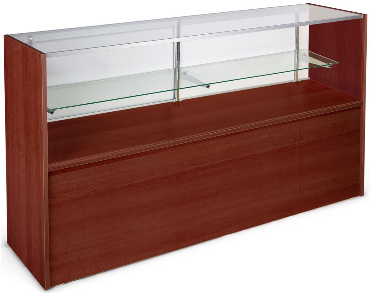 Cherry Glass Display Cases Full Length Shelf For Retail