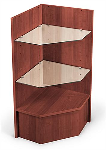 cherry corner cash wrap with adjustable shelves