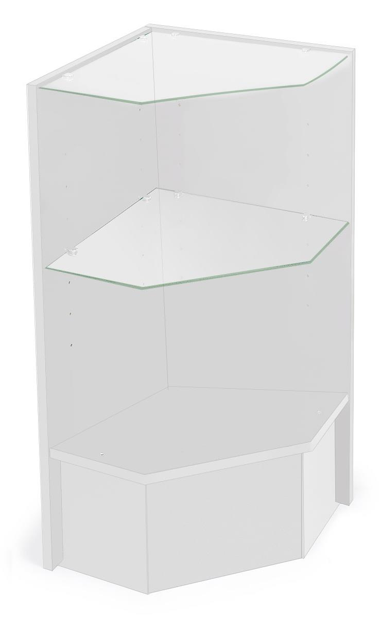 White Corner Display Case Open Front Display With