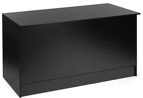 Wide Black Retail Counter With Storage Flat Gloss Countertop