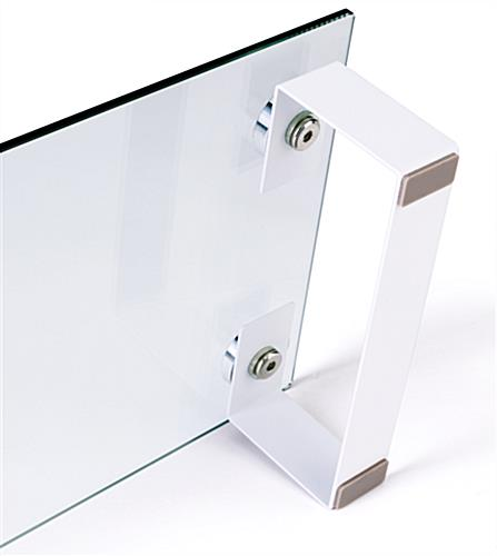 glass desktop monitor stand with block legs on white base