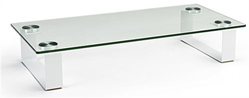 Contemporary glass desktop monitor stand with block legs