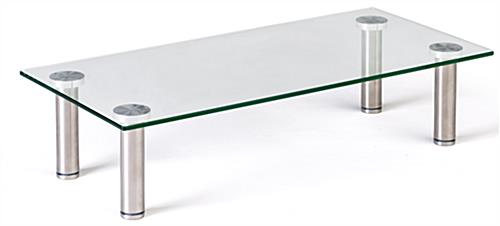 Contemporary clear glass riser shelf stand