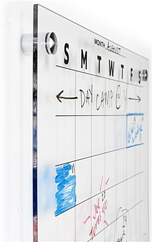 Treated acrylic whiteboard monthly planner