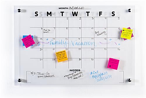 30 Day Calendar Whiteboard Wall Mounted Acrylic