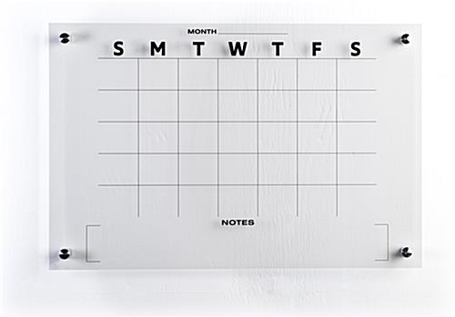 30-day calendar whiteboard is non-magnetic