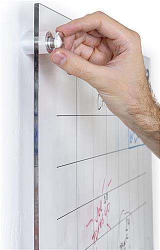 Custom printed dry erase board with silver standoffs