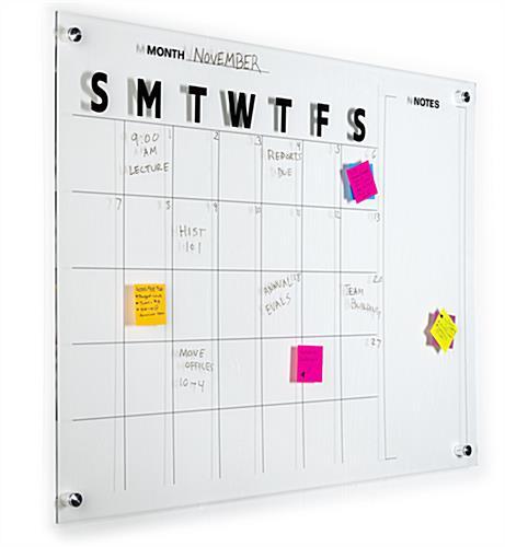 Dry Erase Calendar Canada : Dry erase marker board calendar frameless acrylic