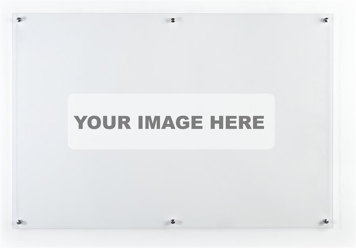 72 x 48 Wall-Mounted Dry Erase Board, Acrylic, Custom Printing – Clear