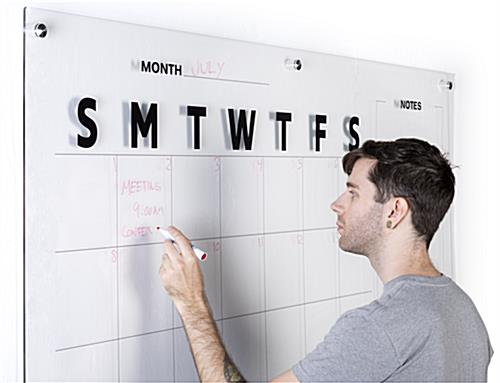 Non-ghosting oversized calendar dry erase board