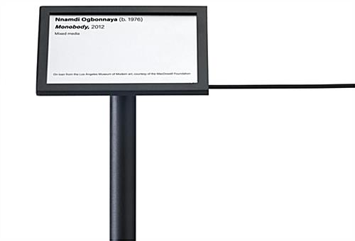 Exhibit 45-degree stanchion signage plate mounts in two orientations