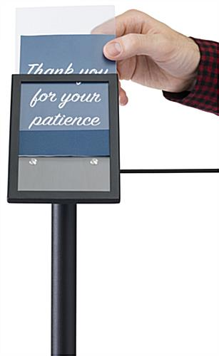 Exhibit 45-degree stanchion signage plate with slide-in design