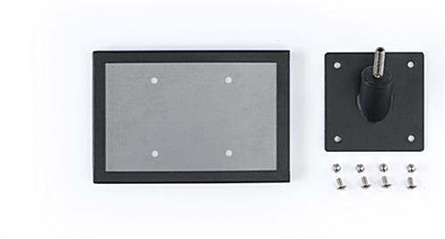 Exhibit 45-degree stanchion signage plate includes frame and screws