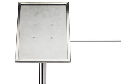 Brushed stainless steel museum barrier 45-degree sign plate