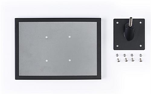 45-degree museum barrier signage cap with screws and angle plate