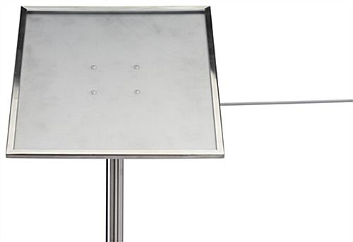 Silver stanchion angled gallery sign holder cap