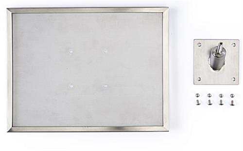 Museum barrier signage plate with frame and screws