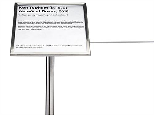 8.5 x 11 museum barrier signage plate