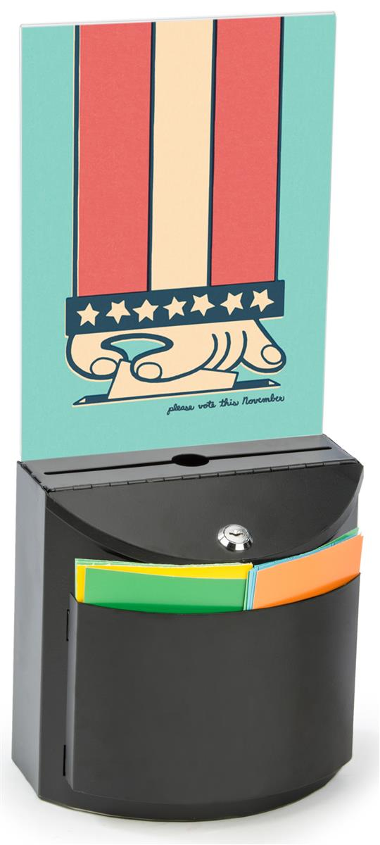 Black Ballot Box With Graphics Holder Slide In Acrylic Frame
