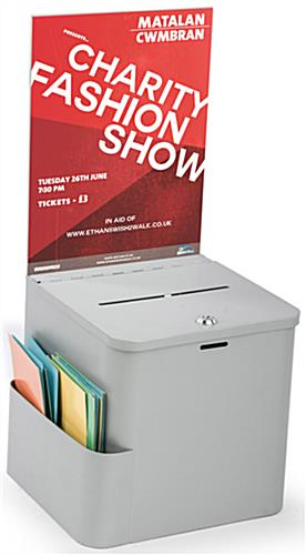 Silver Ballot Box with Sign Holder