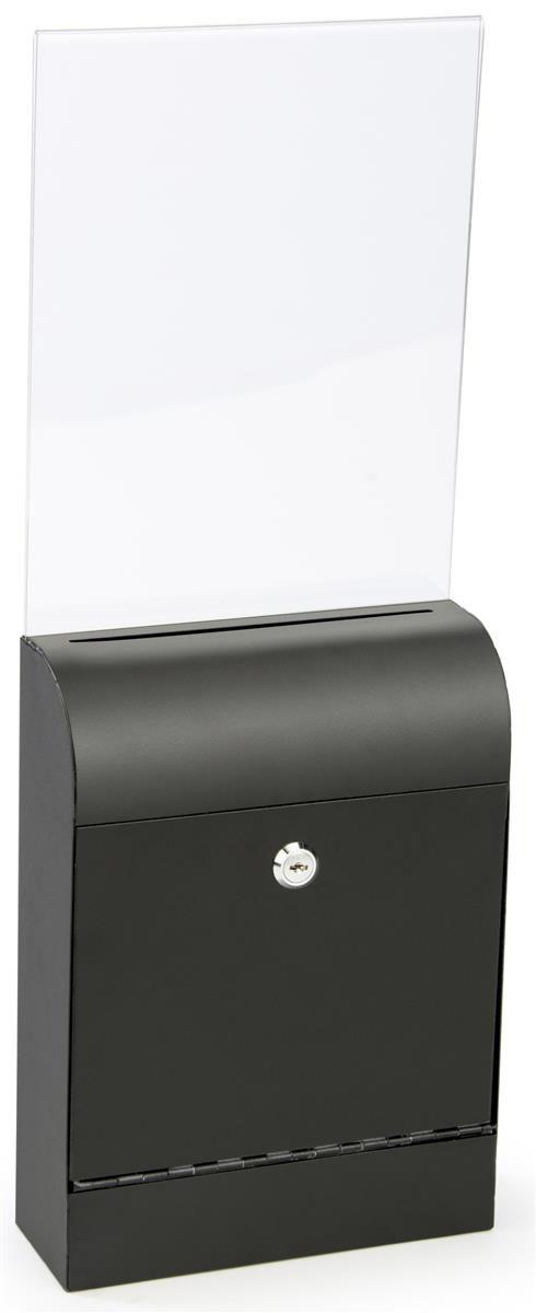 Black Wall Mount Document Box Slide In Acrylic Sign Holder