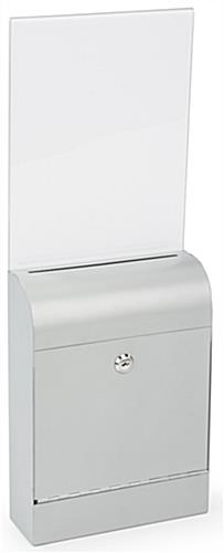 Silver Wall Mount Document Box with Lockable Door