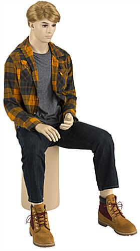 Fiberglass Seated Male Mannequin with Blonde Wig