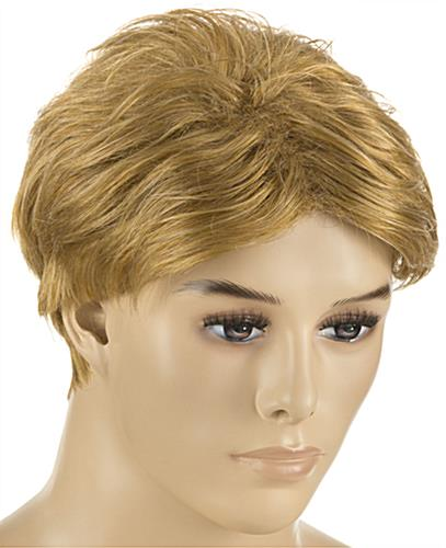 Seated Male Mannequin with Blonde Wig Made with Synthetic Fibers