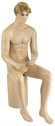 Full Body Seated Male Mannequin with Blonde Wig