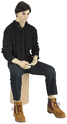 Fiberglass Seated Male Mannequin with Brown Wig